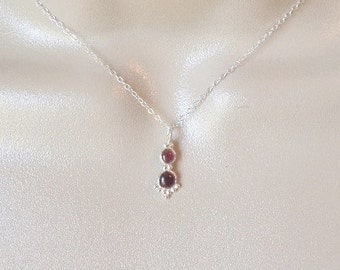 Silver Garnet Necklace, Garnet Necklace, Sterling Silver Necklace, Birthstone Jewelry, Silver Jewelry, Valentines Day, Gifts for her, Gifts