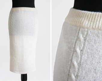1980s Cream Lambswool & Angora Cable Knit Skirt
