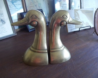 Mid Century Brass Duck bookends  Beautiful