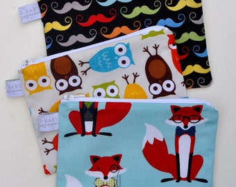 Choose Your Print and Size - Eco Friendly Small Reusable Snack Bags - Bermuda Owl, Blue Fox & Houndstooth (Moustache SOLD OUT)