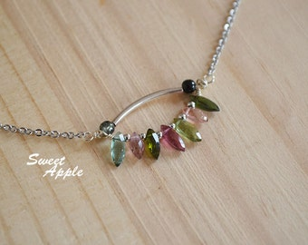 Multicolor Leaf Type Tourmaline Design Necklace