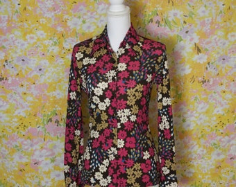 Vintage Flower Power Long Sleeved Button Up Blouse