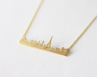 10% OFF - Paris necklace, Gold Paris Necklace, city skyline necklace, gift for her, gift, birthday gift