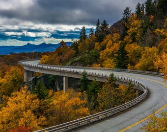 Autumn view of Linn Cove Viaduct, on the Blue Ridge Parkway, North Carolina. | Photo Print, Stretched Canvas, or Metal Print.