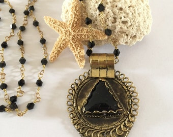 Beaded Brass & Onyx Tibetan Teardrop Pendant Necklace Boho Layering