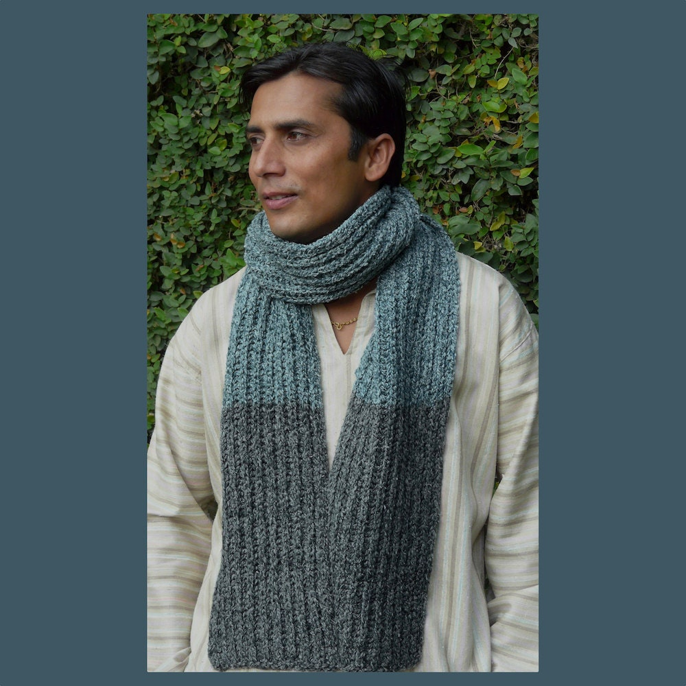 Knitting Mens Scarves : Mens scarf knitted handmade winter pure