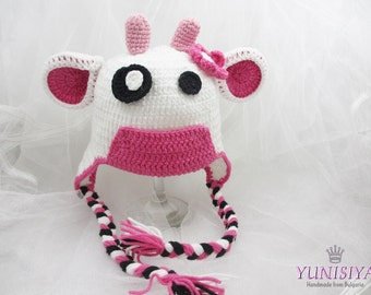 Baby Cow Hat, Beanie Baby Cow Hat, Hat With Ear flaps, Crocheted Cow Hat, Newborn Hat, Farmers Hat, Crocheted Hat, cow hat, baby girl hat