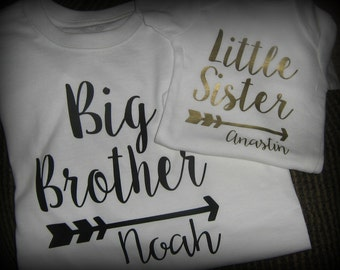 Big Brother, Little Sister, Big Sister, Little Brother matching shirts, personalized arrow shirts