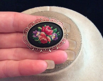 Vintage Colorful Needlepoint Floral Pin