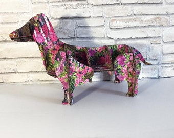 Pink Dachshund gift, Organizer Shelving, flower dog, gift for wife, engagement present, decoration kids toy, shelves pets, 3d puzzle dog