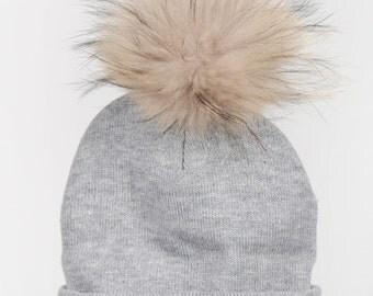 Genuine finn raccoon pompom winter tuque beanie