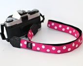 Polkadots hot pink and black two colors available My Funky Camera strap for compact cameras