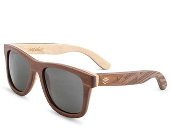 """Brazilian-Inspired Engraved Wood Sunglasses, Natural Wooden Sunglasses, Polarized Grey Lens, Boho Accessories, Men's Sunglasses - """"Vallely"""""""