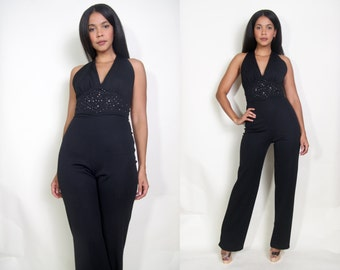 Vintage 70s Black Beaded Studded High Waist Halter Cutout Back Jumpsuit Glam Disco Elvis