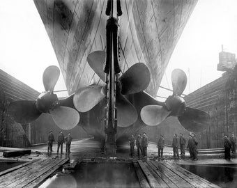 Propellers, Huge, Drydock, Belfast, Ireland 1911: Photo Print