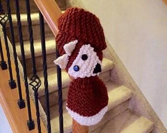 Hand Knit Chunky Fox Scarf / Scarflette