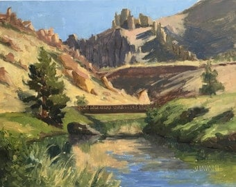 Smith Rock morning - Original contemporary Landscape painting - Oil Painting