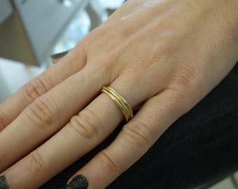 Bimetal Wedding Band Flat Two Tone Unique Ring Artisan Rose Gold Wedding Band Wedding Band Set Custom Wedding Band Size Engraving Solid Gold