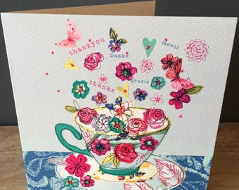 Tea Thanks-Greeting Card- handfinished