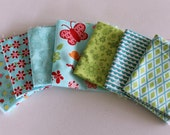 Aqua and Green Bugsy Fabric Scrap Pack ~ Fabric Destash ~ Childrens Fabric Scraps