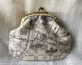 French Map Coin Purse