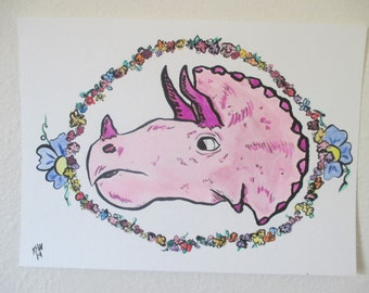 Triceratops with Flowers