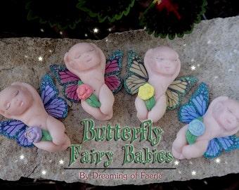 Miniature Fairy Garden Baby, Girl Boy Fairy Figurine, Butterfly Fairy Babies, Fairy Garden Figure
