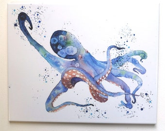 Octopus Painting Original Watercolor Tile Hangable