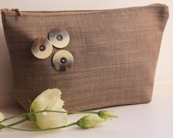 Linen Cosmetic Bag with 3 Decorative Buttons - Cosmetic Storage