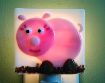 Pink, Pig, Fused Glass, Night Light, Pink Pig, Nite Light, Nightlight, Pig Decor, Wall Light, Plug In, Piglet, Farm
