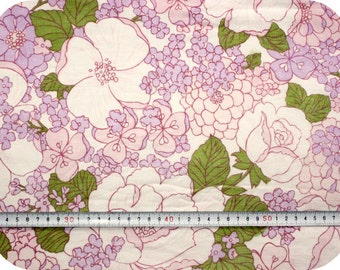 Floral retro vintage rose fabric - pink, purple and green