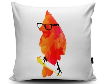 Bird Cushion, Bird Pillow, Funny Cushion Cover, Bird Illustration Pillow Case, Orange cushion, Amusing Comedy Cushion 45cn Suede Cushion