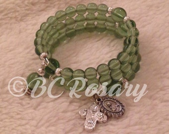 Mint Green Memory Wire Rosary Bracelet