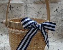 Nautical Flower Girl Basket, Nantucket Basket, Beach Flower Girl Basket
