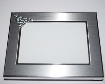 Vulcan Bomber Aeroplane Picture Frame-Brushed Chrome with Vulcan enamel badge. 4 size frames