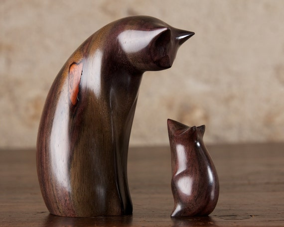 Wooden Cat and Mouse Sculpture Carved From Sonokeling Rosewood Wood by Perry Lancaster, Cat Sculpture Figurine Statue Cat & Mouse