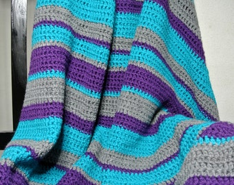 Handmade Acrylic Crochet Blanket, Striped throw, Multicolored Afghan
