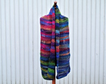 Handmade Multicolored Crochet Scarf, Wool and Acrylic blend Scarf