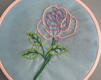 Hand embroidered Pink rose