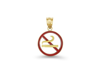 14k solid gold enameled NO SMOKING sign pendant.