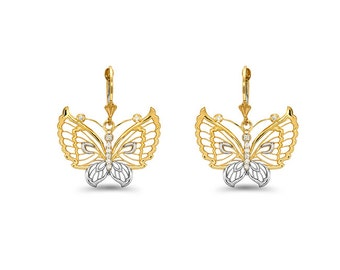 14k solid gold two tone diamond accent butterfly earrings with fleur de lis lever backs.