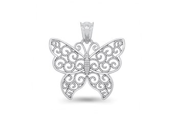 65% OFF SALE - Sterling Silver Butterfly Pendant
