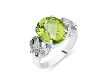 Sterling Silver Kiwi Cubic Zirconia Ring, Silver Ring, Cubic Zirconia Ring, CZ Ring, Fancy Ring, Fashion Ring, Fancy Jewelry, CZ Jewelry