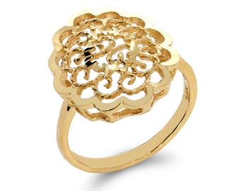 14k solid gold filigree oval ring. trendy ring, classic ring, index ring, fancy ring,
