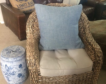 "Blue Herringbone 24"" pillow cover"