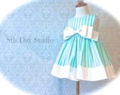 Girls Easter Dress, Toddlers Easter Dress, Aqua and White Stripes, Special Occasions, Church, Wedding, Sizes 2T - 6 by 8th Day Studio