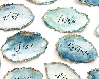 Custom Handmade Paper Watercolor Modern Calligraphy Agate Gold Place Name Escort Cards Wedding