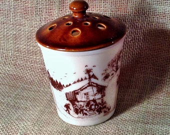 White Milk Glass Amway Garlic Jar with Lid - Brown & White Winter Farm Scenery - Rustic, Bathroom, Bedroom Decor - Toothbrush, Pencil Holder