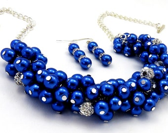Cobalt Blue Cluster Necklace, Blue Pearl Necklace, Bridesmaid Jewelry, Wedding Necklace Set, Cobalt Blue Jewelry, Pearl Beaded Necklace,