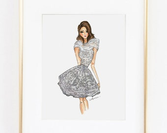 Fashion Illustration Print, Zuhair Murad Couture, 8x10""